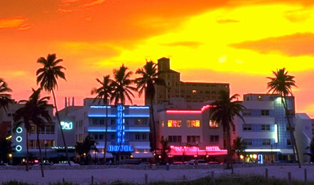 The Art Deco District in South Beach Florida