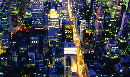 Night Aerial View of New York City