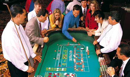 A Group of People Gaming in Kewadin Casino. MI