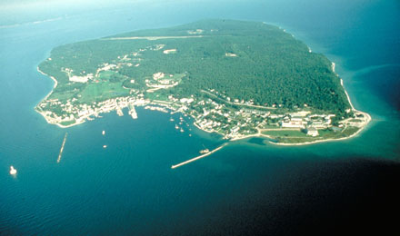 Aerial View of Mackinac Island, MI