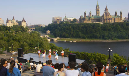 People Watching a Performance in Ottawa, Canada