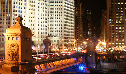 Michigan Avenue Bridge at Night in Chicago