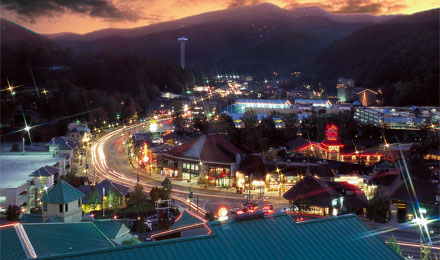 A Night View of Historic Downtown Gatlinburg