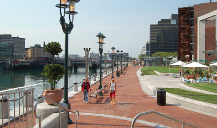 The Boston Harborwalk in Boston. MA
