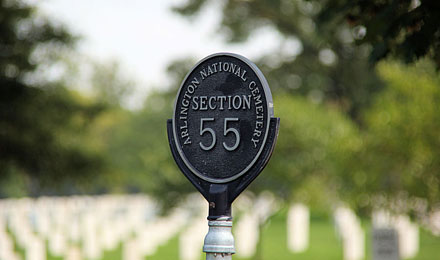 Section 55, Arlington Cemetery in Arlington VA