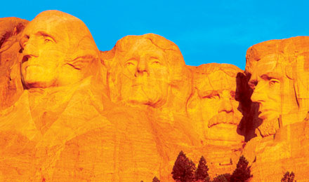 President's Faces on Mount Rushmore in Black Hills