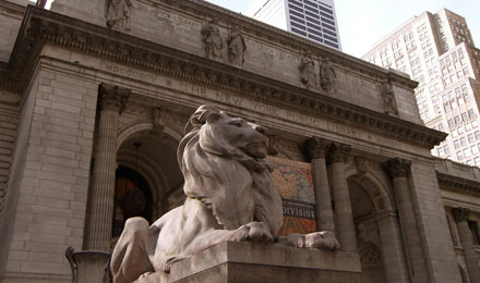 Statue of a Lion outside New York City Library