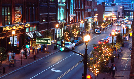 Busy Street in Downtown Nashville, Tennessee