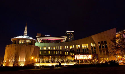 Night view of Country Music Hall of Fame