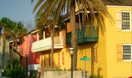 Colorful Houses and Palm Trees in St. Augustine