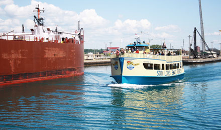 A Soo Locks Boat Cruising Canadian Waters