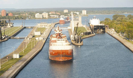 The Soo Locks in Sault Sainte Marie MI