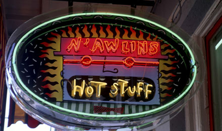 Famous Hot Stuff Sign in French Quarter of New Orleans