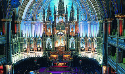 Inside the Notre Dame Basilica in Montreal, Canada