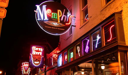 Memphis sign at night, Memphis, Tennessee